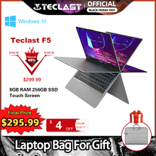 Teclast ordenador portátil F5 de 11,6 pulgadas, 8GB de RAM, 256GB, SSD, Windows 10, 1920x1080, pantalla táctil giratoria 360 de carga rápida