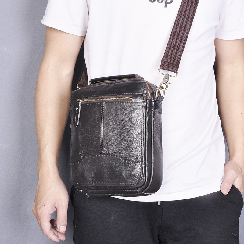 Quality Genuine Leather Male Casual Shoulder Messenger Bag Cowhide Fashion Cross-body Bag 8