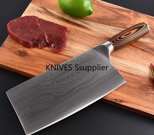 سكين مطبخ من الفولاذ المقاوم للصدأ 7CR17 سكاكين طاه ساطور لحم دمشق رسم