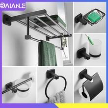 Towel Holder Black Stainless Steel Towel Rack Hanging Holder Double Towel Bar Coat Hook Rack Wall Mount Toilet Brush Holder Set стоимость