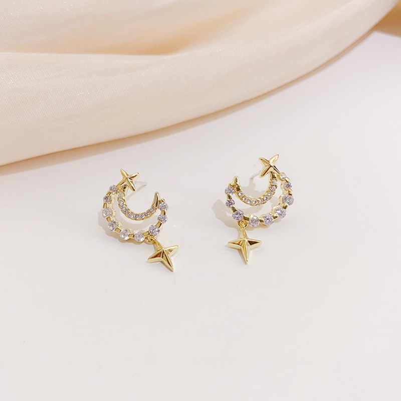 Luxury Female Crystal Hollow Moon Earring Charm Gold Color Star Wedding Earring Cute Bridal Zircon Small Stud Earrings For Women