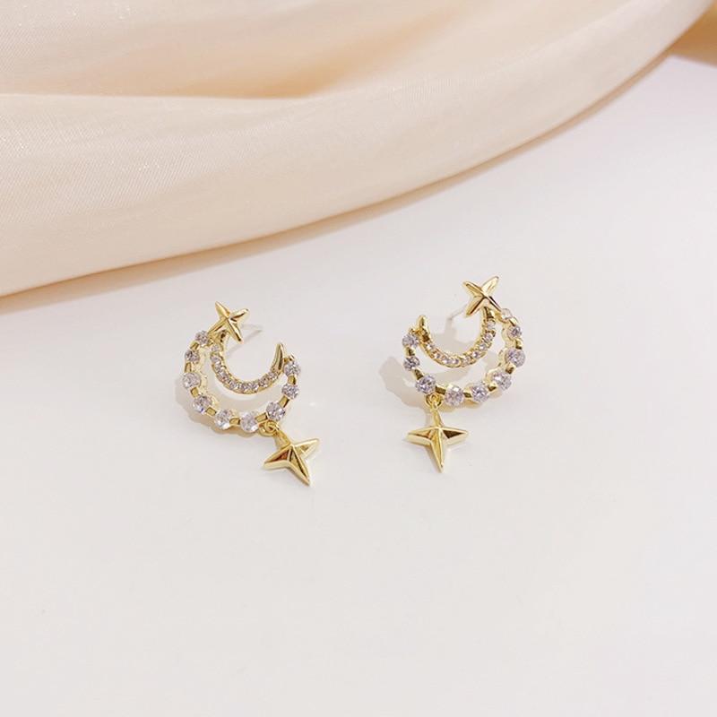 Luxury Female Crystal Hollow Moon Earring Charm Gold Color Star Wedding Earring Cute Bridal Zircon Small Stud Earrings For Women