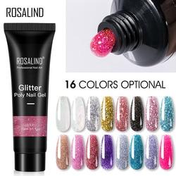 ROSALIND Glitter Poly Nail Gel Extension 15ml Gel Polish All For Manicure Poly Builder Gel Semi Permanent Soak Off Nail Art