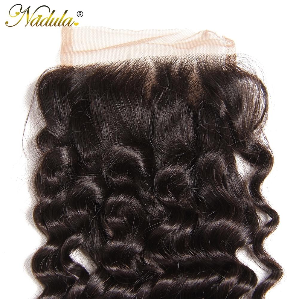 Nadula Hair  Deep Wave Closure 10-20inch  Hair s 4*4 Free Part Swiss Lace Closure  6