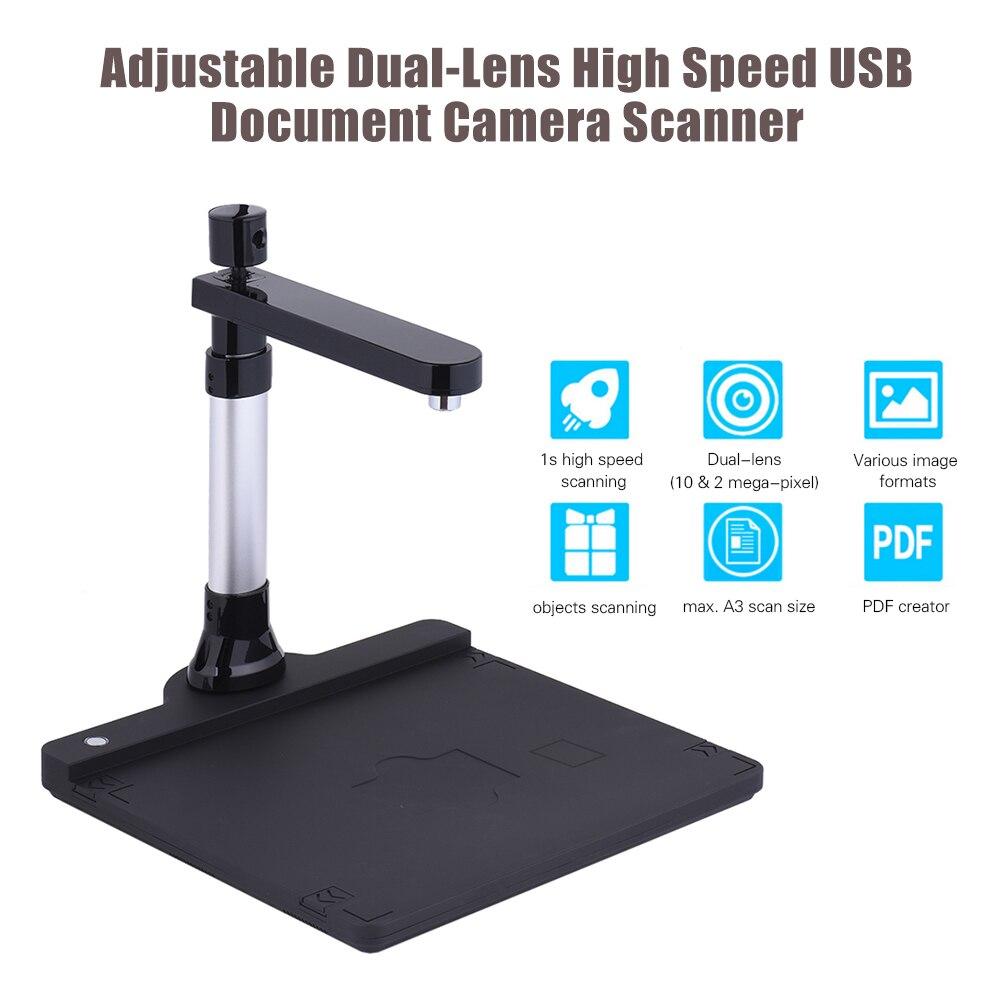 Scanner de caméra de livre USB haute vitesse A3 HD réglable double objectif (10 méga-pixel et 2 méga-pixel) Max avec fonction OCR