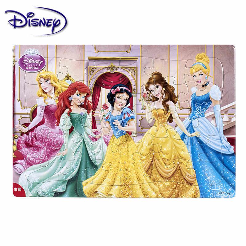 דיסני 30 חתיכה נסיכה קפוא מיקי תיבת עץ פאזל מוקדם חינוך ילדים תחתון תיבת פאזל צעצועים לילדים