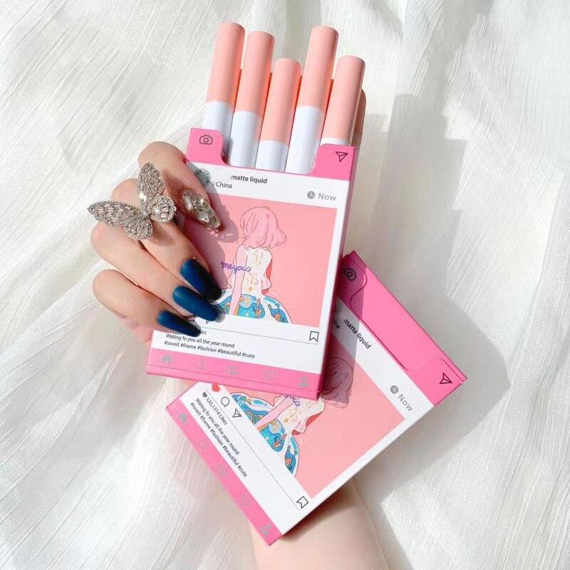 MUGELEEN cinco paquetes de lápiz labial moldeado, terciopelo mate, duradero, creativo, rosa, maquillaje Pintalabios  - AliExpress