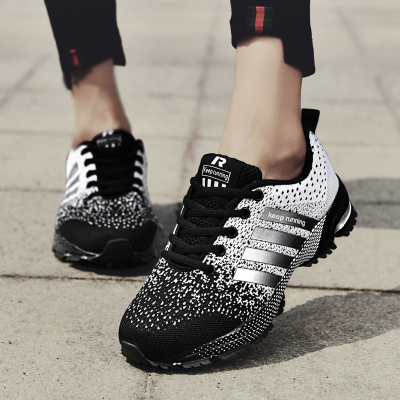 Flat Shoes Woman Sneakers Size 42 Mesh Casual Shoes Female Big Breathable Running Shoes Ladies Flyknit Outdoor Sneakers Sport