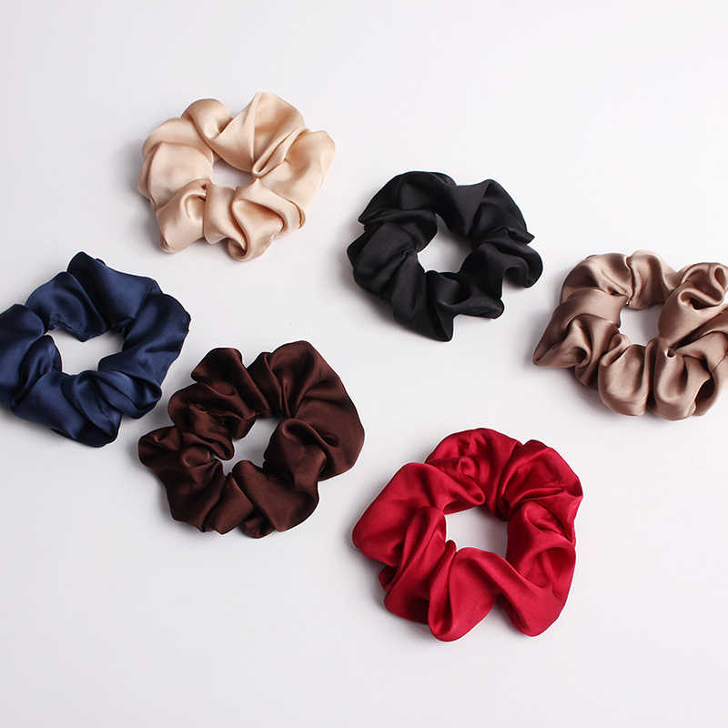 2019 New Women Lovely Satin Scrunchie Elastic Hair Bands Bright Color Hair Scrunchies Girls Hair Tie Accessories Ponytail Holder