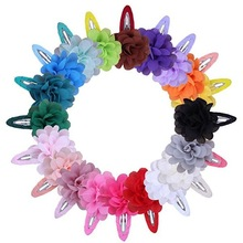 Cute 22 Colors Fashion Baby Girls Mini Chiffon Flowers Hair Clips Sweet Children Hairpins