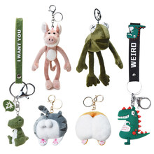 Leuke Cartoon Dier Knuffel Sleutelhanger Rugzak Sleutelhanger Lange Been Kikker Kat Butt Dinosaurus Leeuw Vos Shark Brood Hond Gift om Vriend(China)