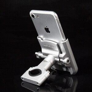 Image 5 - אלומיניום אופנוע הרי אופניים מחזיק טלפון סטנד מתכוונן Moto כידון Rearview מראה 4 6.5 אינץ נייד הר