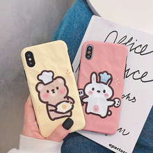 VZD Cute Chef Bunny Bear Phone Case for iPhone Xs Max Xr Bump Surface Soft Cover Iphone X 8 7 6s Plus Back Coque