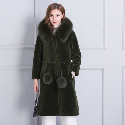 Fashion New 2020 Autumn Winter Real Sheep Leather Fur Coat For Women 2020 New Mink Fur Collar Warm Long Overcoat LX1176