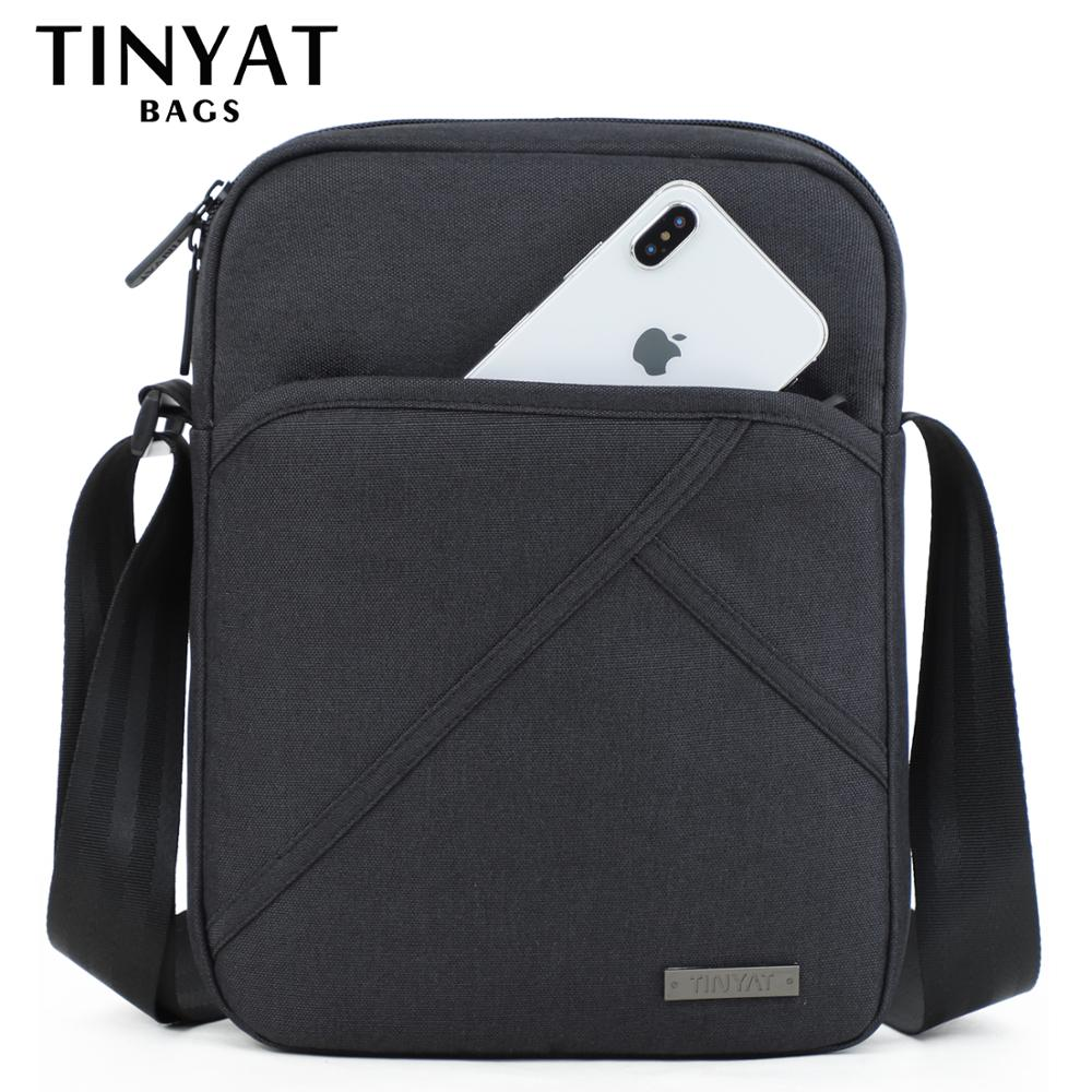 TINYTA Men's bag light Men Shoulder Bag for 9.7'pad 8 pocket Waterproof Casual crossbody bag Black Canvas Messenger bag shoulder