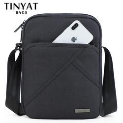 TINYTA Men's bag light Men Shoulder Bag for 9.7'pad 8 pocket Waterproof Casual crossbody bag Black Canvas Messenger bag shoulder