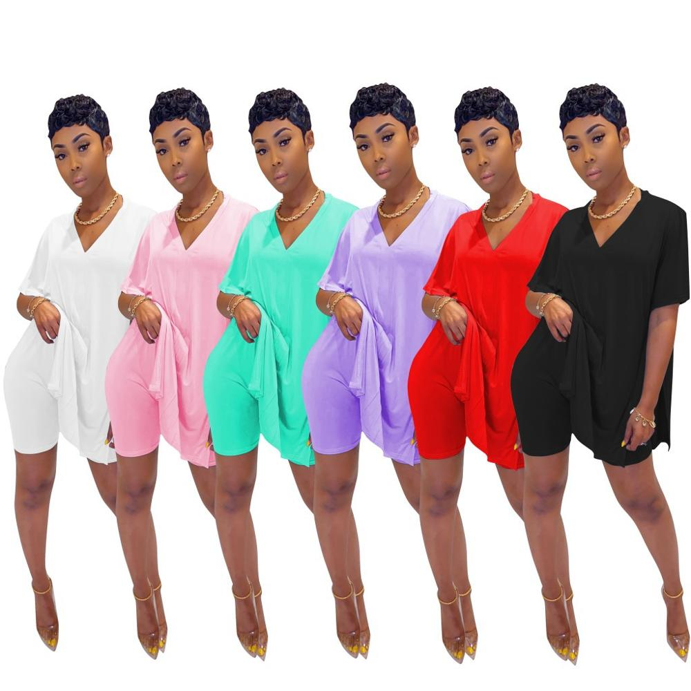 Women's Casual Suit, Loose, Short-sleeved, V-neck, Slit T Shirt + Shorts, Solid Color, Comfortable Two-piece Sport Suit
