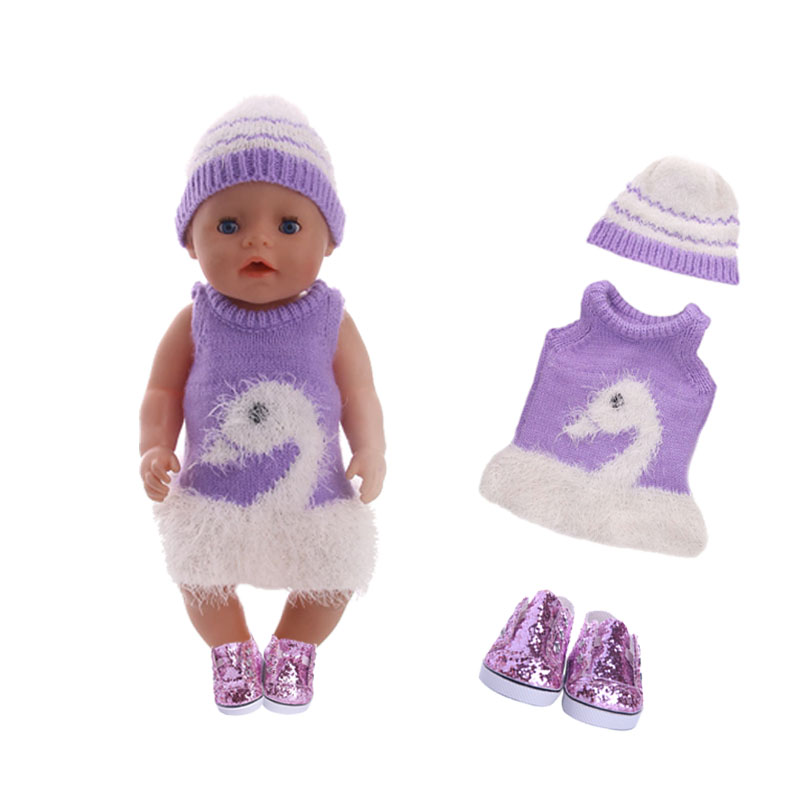 Promotion!Swan Sweater,Purple Sequin Shoes Fit 18 Inch American & 43 CM Born Baby Doll Clothes,Girl's,Our Generation,Christmas