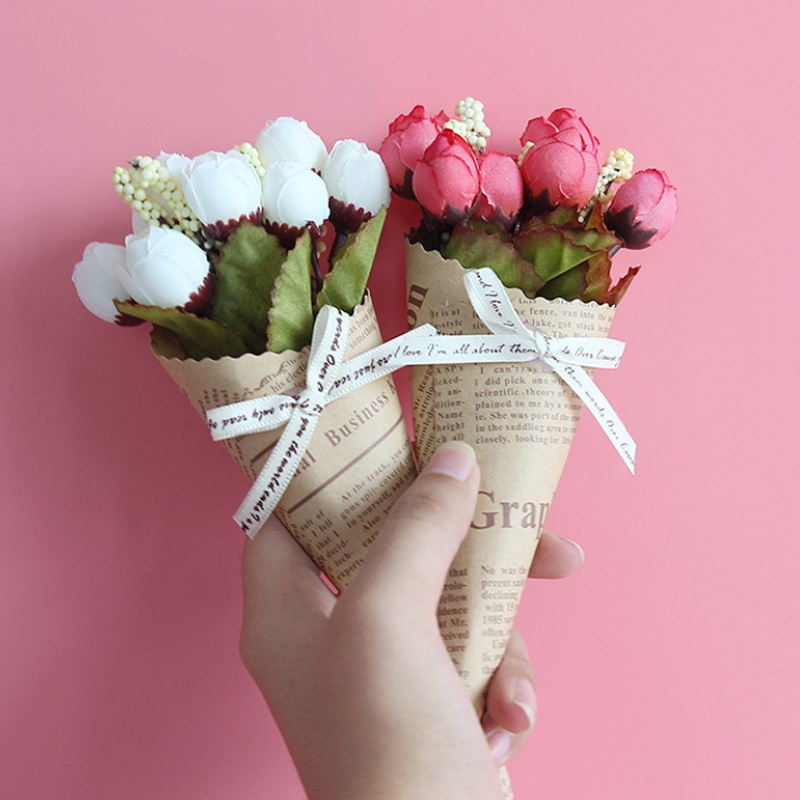 New Mini Paper tube Artificial Plants Wedding Flower Photo props bouquet flowers Birthday Present Home Decoration Fake Flowers 1