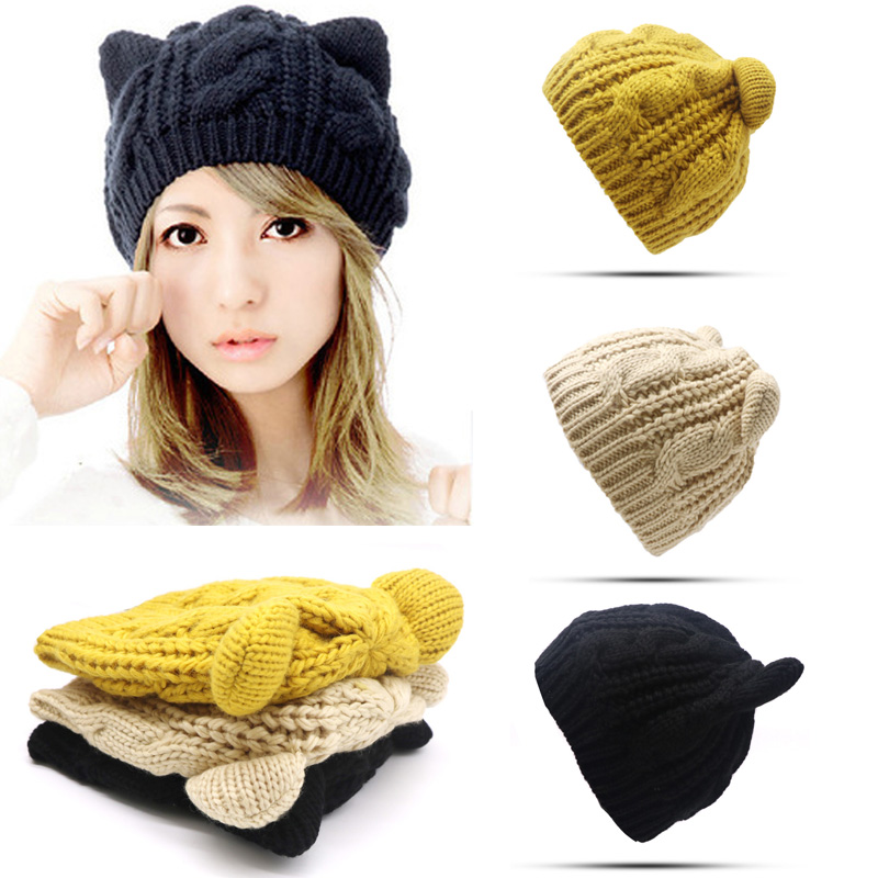 2 Styles Cute Ear Women Winter Hats Unisex Warm Thick Skullies Beanies for Ladies Hip Hop Caps Cover Head Beanie Solid Color