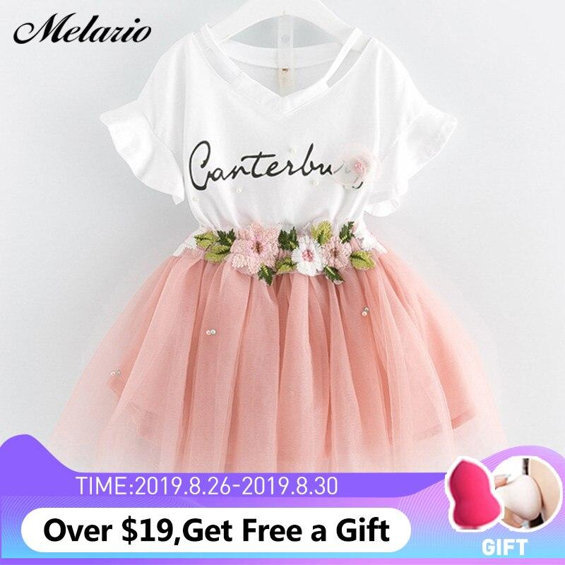 Meninas Vestidos de 2019 Marca a Roupa Dos Miúdos Borboleta Carta Manga T-camisa + Floral Voile Vestido 2 Pcs para Vestuário define As Crianças Se Vestem