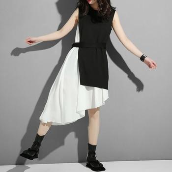 [EAM] Women Black Asymmetrical Split Two Piece Dress New Round Neck Long Sleeve Loose Fit Fashion Tide Spring Autumn 2020 45491S 3