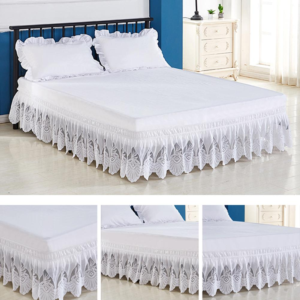 Elastic Lace White Ruffle Bed Skirt Sewn With Embroidered Trim Wrap Around Bed Skirt Comfort Wrinkle Resistant Wrap For Bedroom