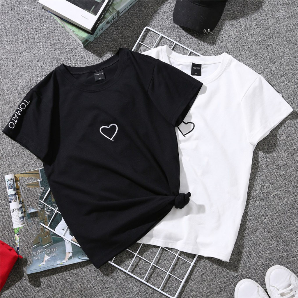 Heart Printed Men Women Casual Letter Short Sleeve O-Neck T-Shirt Tops camiseta mujer Summer Loose Couple Tshirt vetement femme