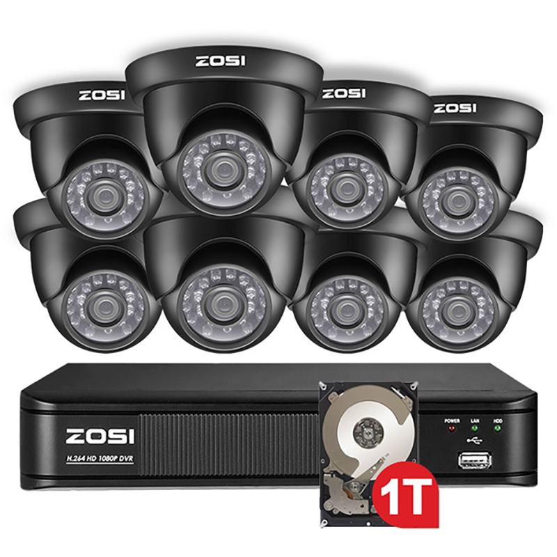 ZOSI 8 Channel 1080N TVI 8CH 720P HDD Nightvision Dome CCTV Video Home Security Led Camera System Surveillance DVR Kit web page