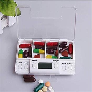 2019 wielofunkcyjny pojemnik na pigułki 4 siatka inteligentny plastikowy pojemnik do przevhowywania Box elektroniczny czas przypomnienie medycyna pudełka budzik tanie i dobre opinie GX036