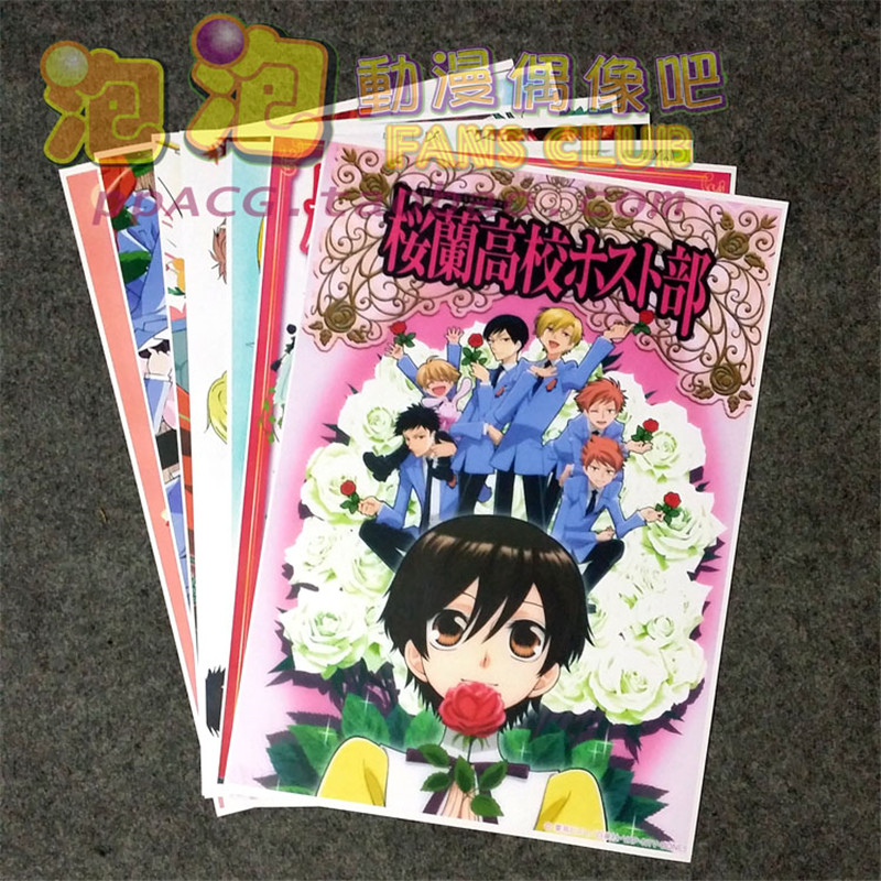 8 Pcs/set Anime Ouran High School Host Club Poster Fujioka Haruhi Wall Pictures For Living Room A3 Film Posters For Gifts