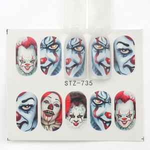 Image 2 - 25pcs Halloween Designs Nail Stickers Skull Bone Clown Ghost Big Eye Horror Decals Water Transfer Stickers Art DIY Decorations