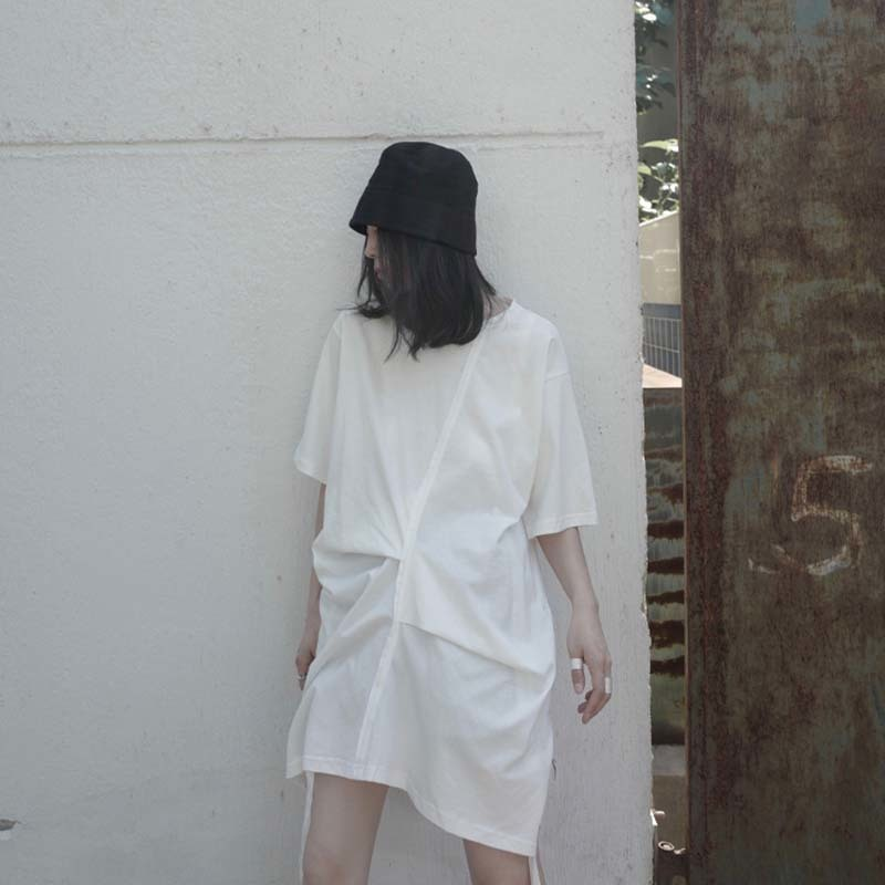 [EAM] Women White Pleated Split Big Size Long T-shirt New Round Neck Half Sleeve  Fashion Tide  Spring Summer 2020 1W296 6