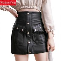 Summer Wrap Pencil Skirts Womens Sheepskin Genuine Leather Skirt High Waist Mini Skirts Sexy River Aline Ladies Korean Clothes