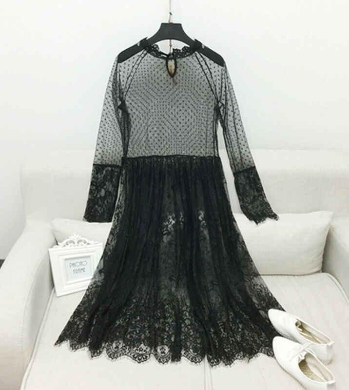 Piękna odzież damska przepuszczalna siatkowa sukienka Midi Sheer Maxi sukienka tiulowa koronkowa długa spódnica