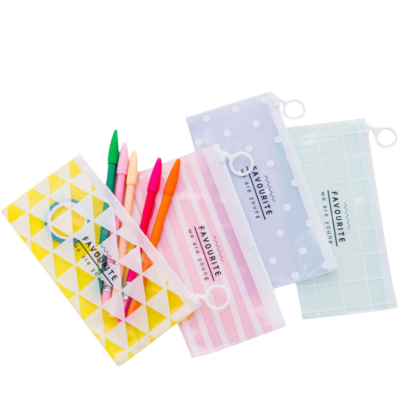 Vogvigo Cartoon Transparent Clear Makeup Bag PVC Zipper Cosmetic Organizer Bag Students School Cosmetic Pencil Bag Case Pouch
