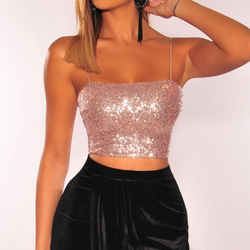 Summer Women Sexy Sequined Rhinestone Tube Crop Tops Sleeveless Strap Bra Vests Shiny Glittering Club Wear Camis(China)