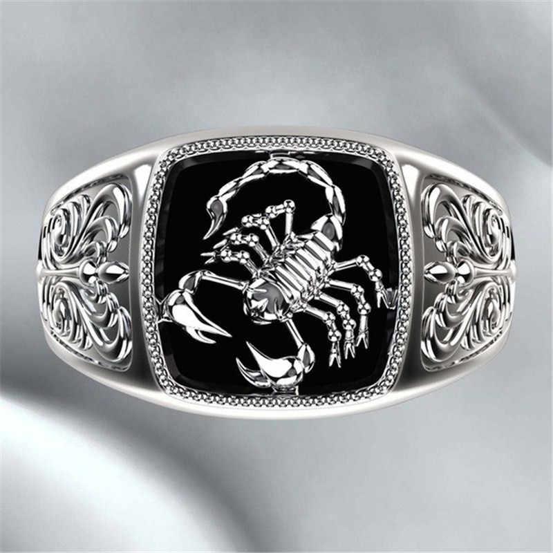 Modyle Berkualitas Gaya Gothic Punk Scorpion Pria Retro Cincin Scorpion Pola Cincin untuk Pria Perhiasan