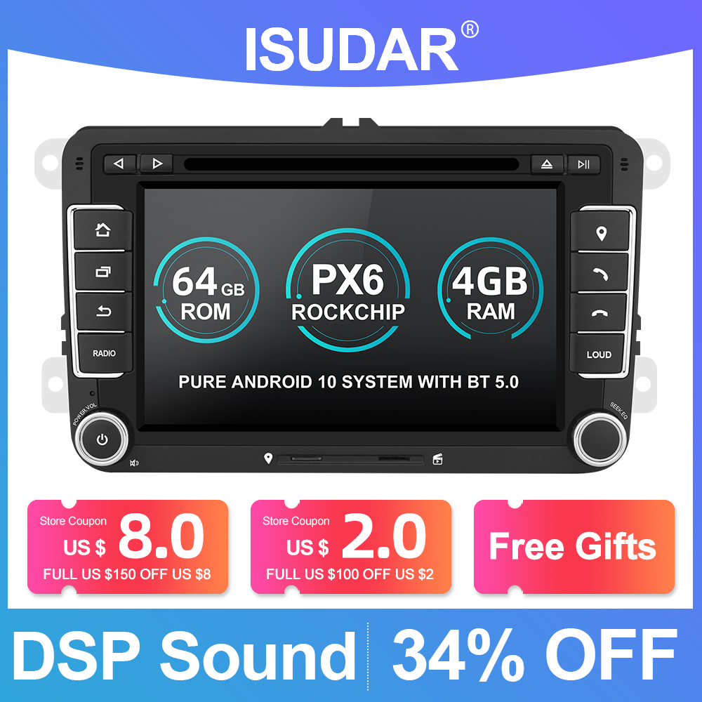 Isudar 2 Din Android 10 Radio For VW/Golf/Tiguan/Skoda/Fabia/Rapid/Seat/Leon Canbus Car Multimedia Player Automotivo GPS DVD DSP|car dvd player|gps radiodvd car player - AliExpress