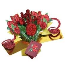 Greeting Cards Handmade Birthday Wedding Invitation 3D Pop Up Card Rose Flower