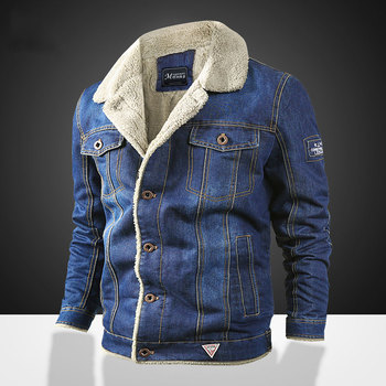 Winter jean jacket thick winter coat for male classic solid outerwear 2020 men jacket and coat trendy warm fleece denim jacket фото