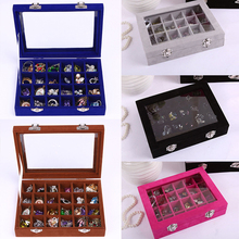 24 Grids Velvet Glass Jewelry Ring Display Organizer Box Tray Holder Earring Storage Case Earrings/Ring/Necklace/Pendant D30