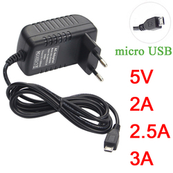 Micro USB Power Adapter  5V 3A 2A 2.5A 5 V Volt 100-240V Adaptor Supply Charger For Raspberry PI 3 Zero Model B B+ Tablet PC