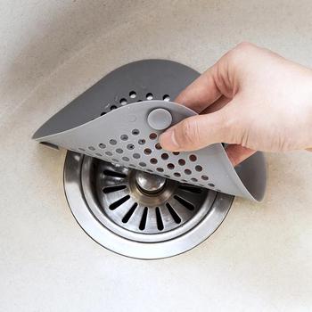 Kanalizacja łazienkowa filtr sitko Sink antypoślizgowa silikonowa pokrywa wpustu zlewozmywaki kuchenne antypoślizgowe akcesoria do odwadniania netto tanie i dobre opinie JJ0083 Suction Cup Filter Silicone 14*14cm White Gray