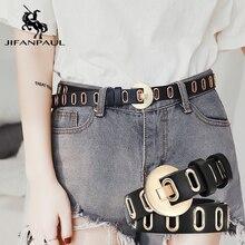 JIFANPAUL натуральная кожа Дамская Роскошная брендовая модная Пряжка из сплава высококачественный ремень с женскими студенческими повседневными джинсами