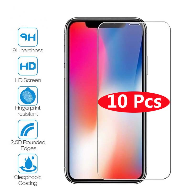 10Pcs Tempered Glass For iPhone X XS MAX XR 4 4s 5 5s SE 5c Screen Protective Film For iPhone 6 6s 7 8 Plus X 11 Glass Protector(China)