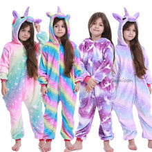 Children Pajamas Unicorn Pyjamas Kids Kigurumi Pajamas Cartoon Stitch Unisex onesies Winter Pijamas Unicornio pijama infantil(China)