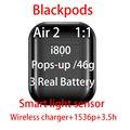 I800 Blackpods Super Cópia Ar 2 Fones de Ouvido Bluetooth 5.0 Pops-up 46g Sensor de Luz Inteligente 1:1 Headsets Wirless carregador 1536p 3.5h