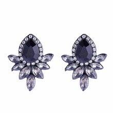 2019 New Womens Fashion Crystal Earrings Rhinestone Black/White Glass Black Resin Sweet Metal Leaf Ear Earring For Female Gift