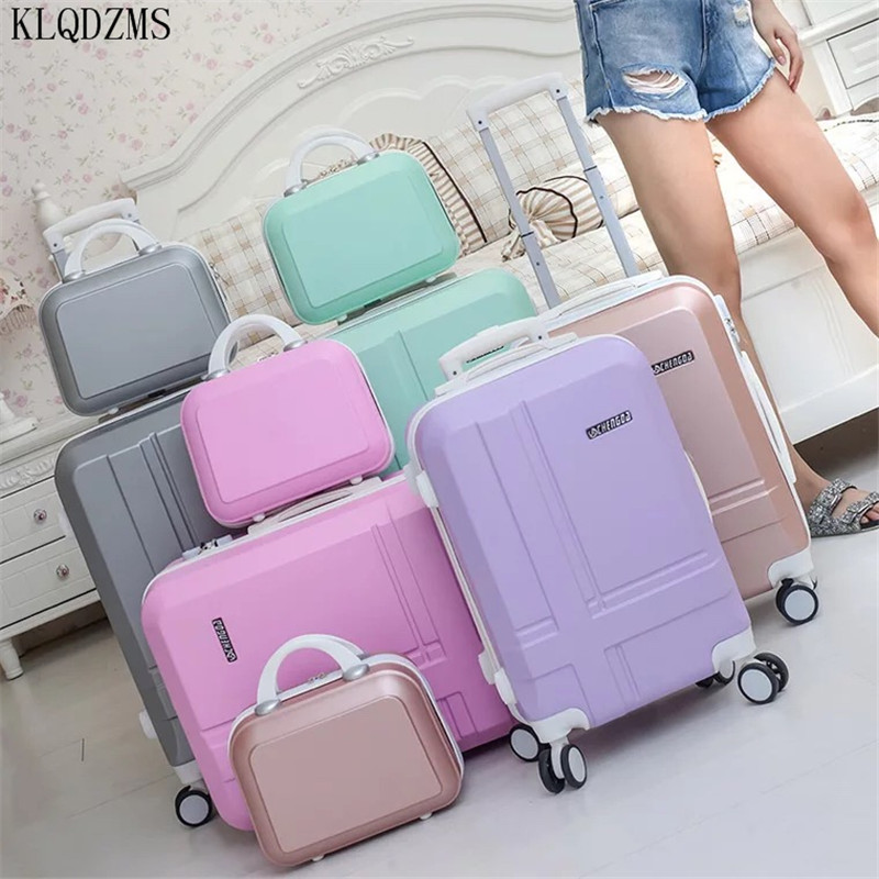 KLQDZMS 20''24 Inch Travel Suitcase On Wheels ABS  Woman's Trolley Luggage Bag Set Student Travel Suitcase With Cosmetic Bag